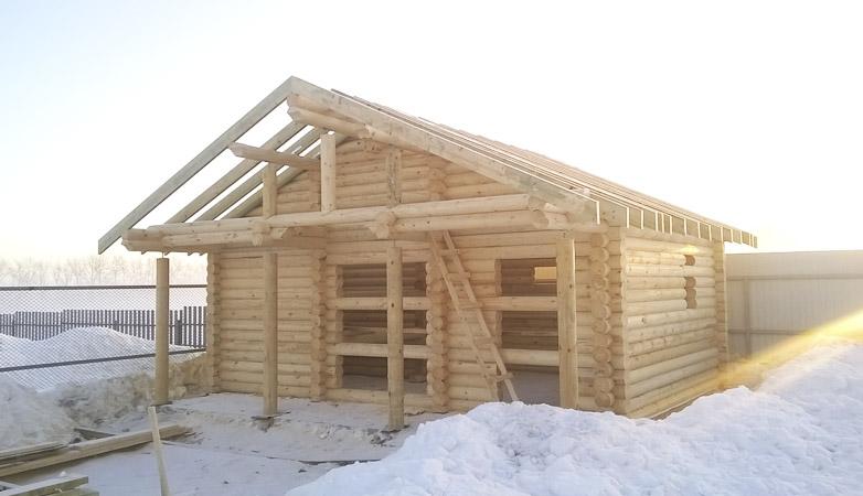 Баня из бревна в Минулово